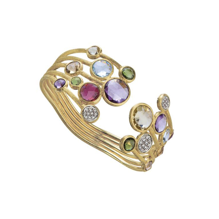 Jaipur 5 Strand 18k Gold Gemstone & Diamond Bracelet