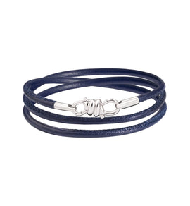 Dodo Nodo Bracelet in 18k White Gold with Midnight Blue Leather