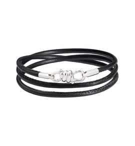 Dodo Nodo Bracelet in 18k White Gold with Black Leather