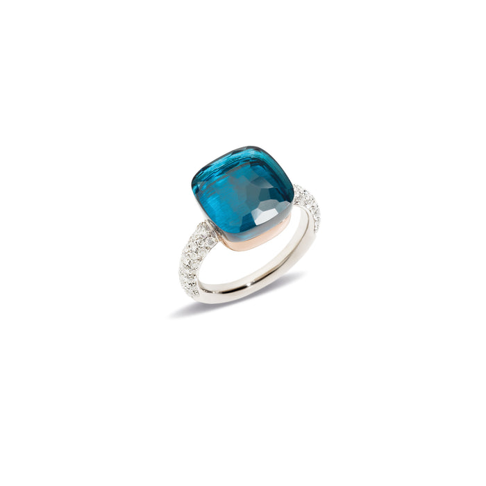 Nudo Maxi Diamond Ring in 18k White Gold and Rose Gold with London Blue Topaz and Diamonds