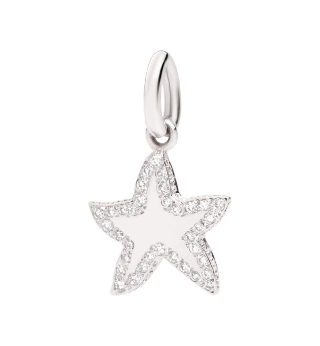 DoDo Little Star Charm in 18k White Gold with Diamonds