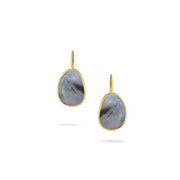 Lunaria Earrings in 18k Yellow Gold and Grey Mother of Pearl with French Hooks