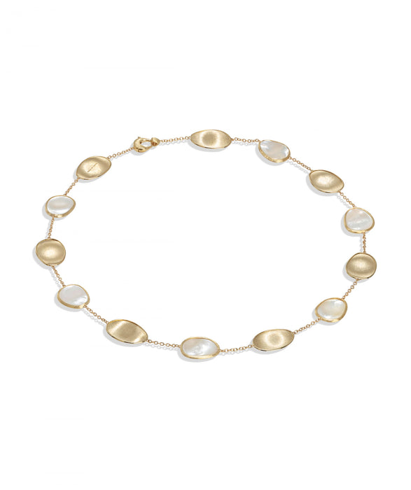 Lunaria Necklace in 18k Yellow Gold with White Mother of Pearl