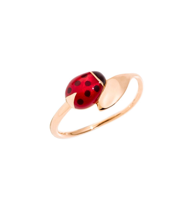 DoDo Ring Ladybug in 9k Rose Gold with Coloured Enamel