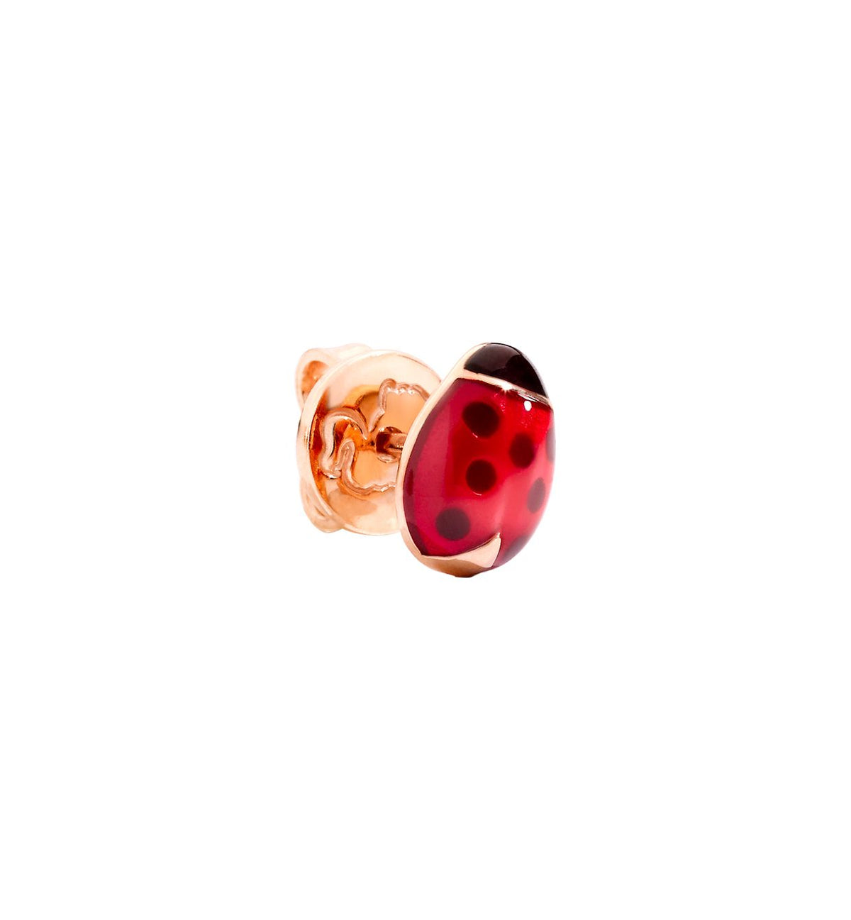 DoDo Ladybug Earring in 9k Rose Gold with Enamel - Orsini Jewellers NZ