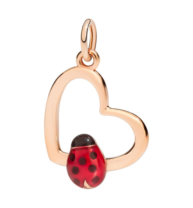 DoDo Heart Silhouette with Ladybug Charm in 9k Rose Gold with Enamel