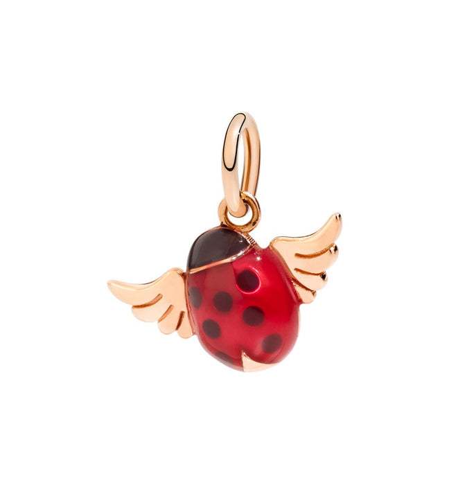 DoDo Ladybug with Wings Charm in 9k Rose Gold with Red Enamel