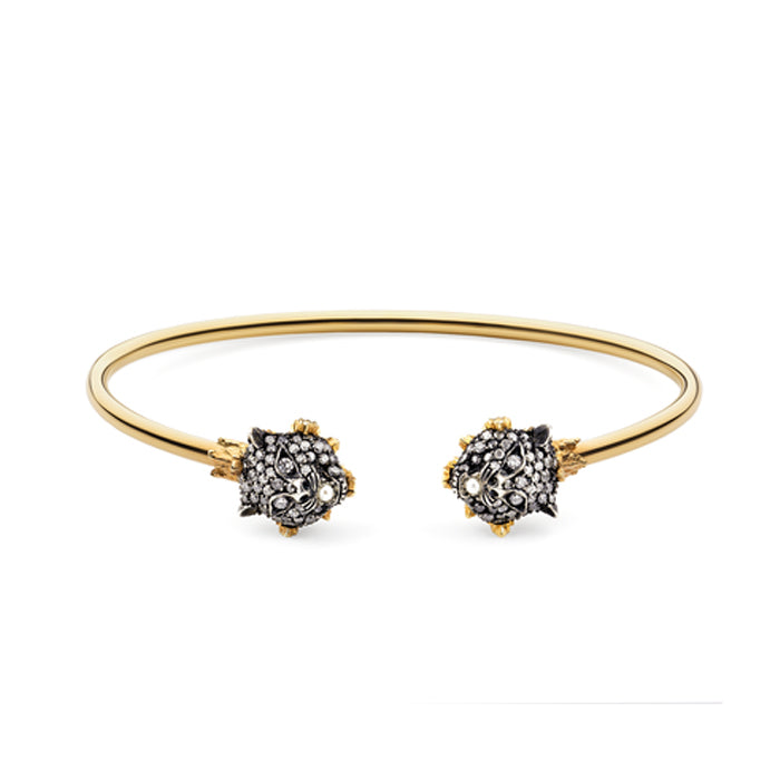 Le Marché des Merveilles Bangle in 18k Yellow Gold and Aged Sterling Silver with White and Grey Diamonds