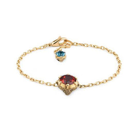 Gucci Le Marché des Merveilles Bracelet in 18k Yellow Gold with Pink Tourmaline, Aquamarine & Diamonds