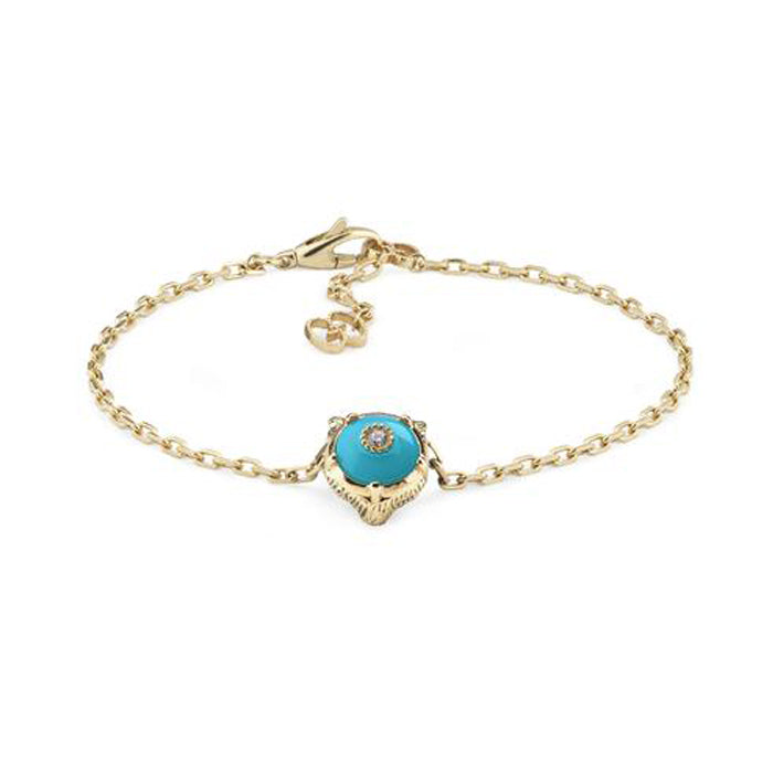 Le Marché des Merveilles Bracelet in 18k Yellow Gold with Turquoise and Diamonds