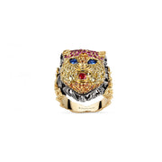 Le Marché des Merveilles Ring in 18k Yellow Gold and Aged Silver with Ruby, and Multi-Coloured Topaz