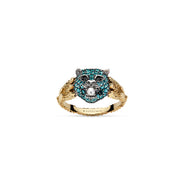 Le Marché des Merveilles Ring in 18k Yellow Gold and Aged Sterling Silver with Paraiba Topaz, Spinel and Pearl