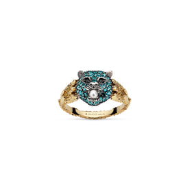 Gucci Le Marché des Merveilles Ring in 18k Yellow Gold and Aged Sterling Silver with Paraiba Topaz, Spinel and Pearl