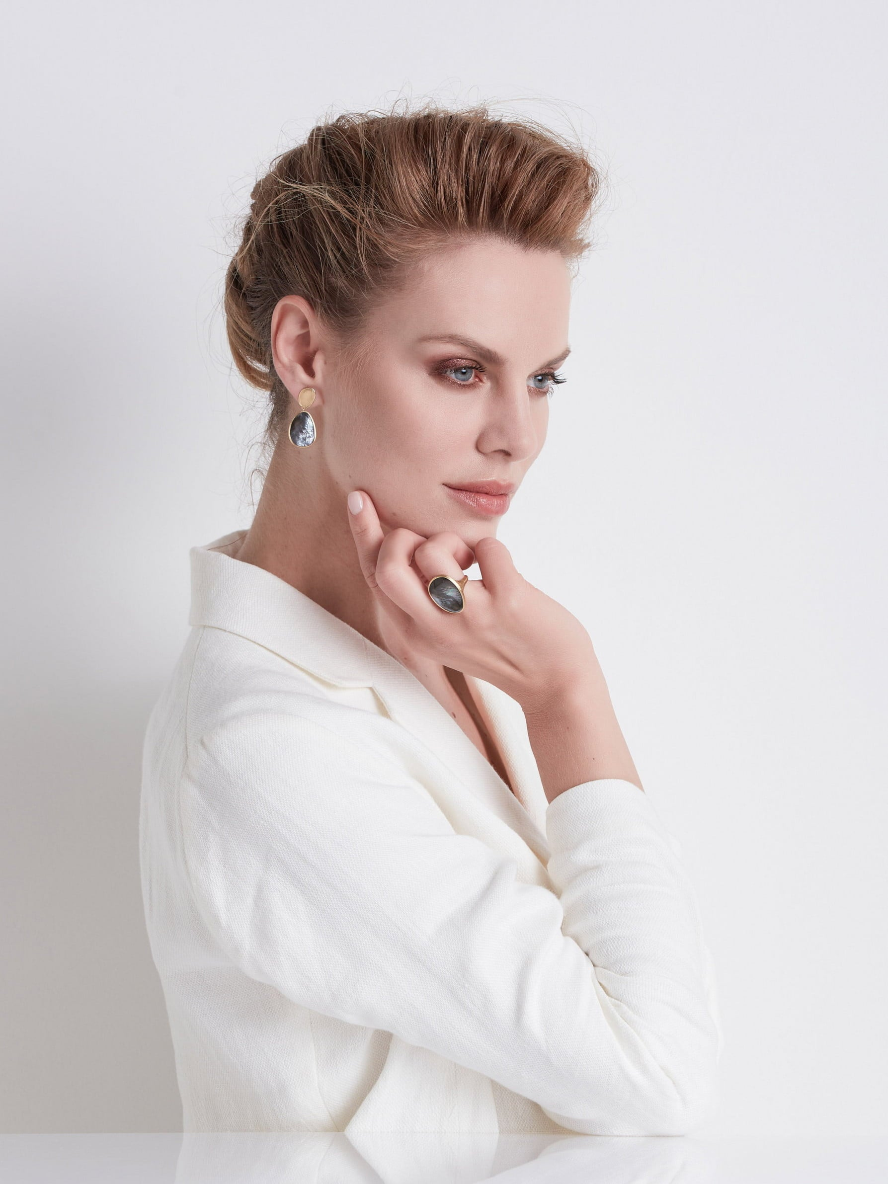 Lunaria Earrings in 18k Yellow Gold with Mother of Pearl Double Drop - Orsini Jewellers NZ