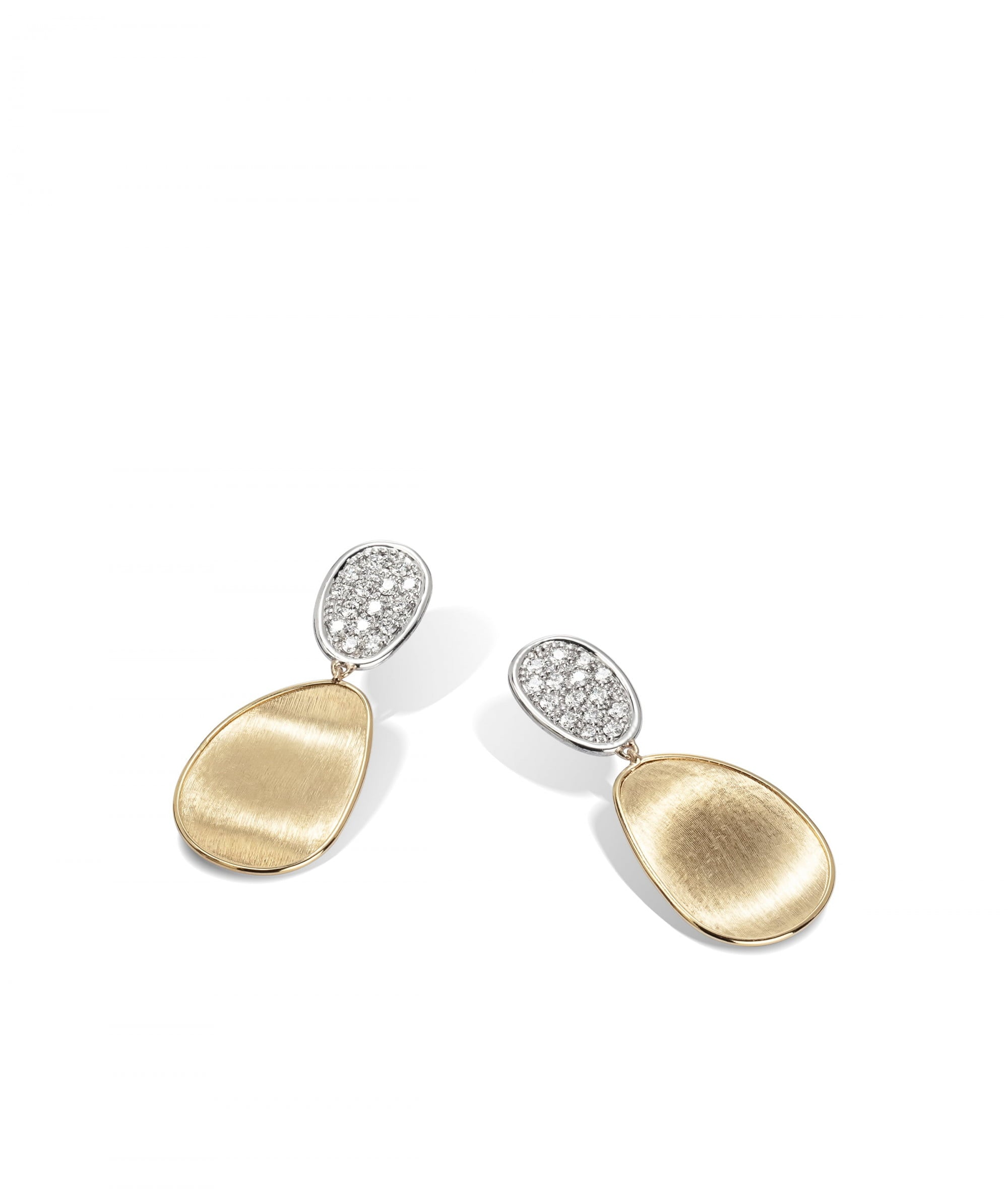 Lunaria Earrings in 18k Yellow Gold with Pave Diamonds Double Drop Small - Orsini Jewellers NZ