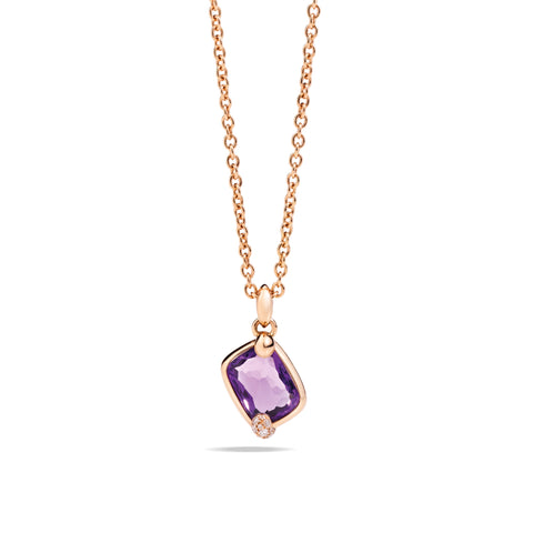 Ritratto Pendant in Rose Gold with Amethyst and Diamonds