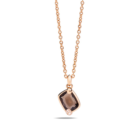 Ritratto Pendant in Rose Gold with Smokey Quartz and Diamonds