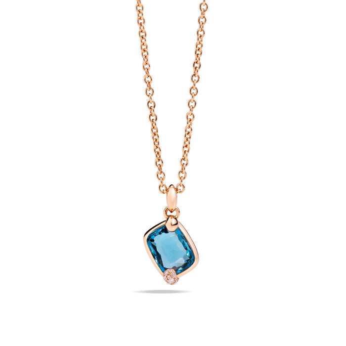 Ritratto Pendant in 18k Rose Gold with London Blue Topaz and Diamonds