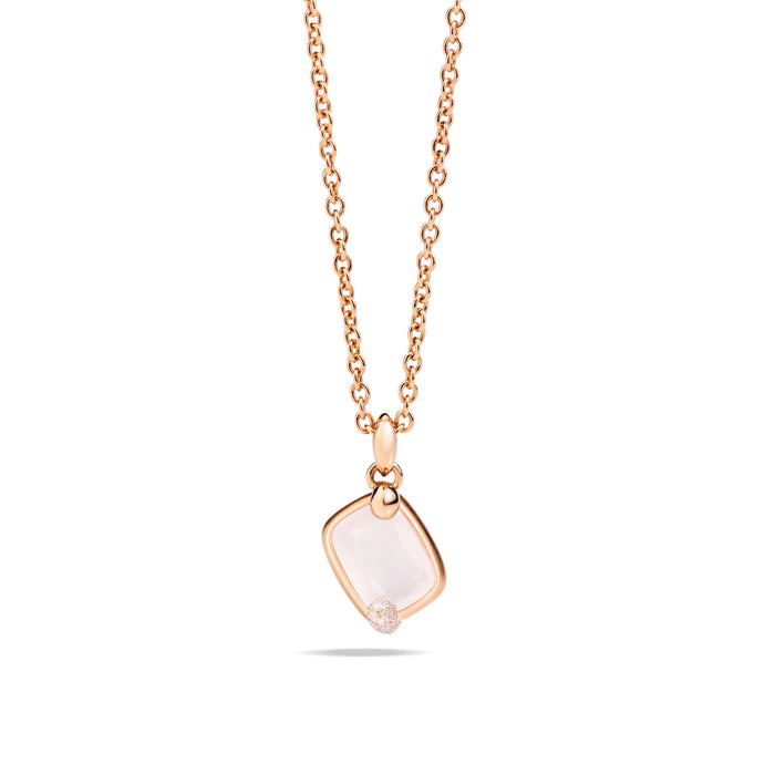 Ritratto Pendant in 18k Rose Gold with White Quartz and Diamonds
