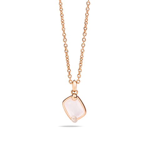 Ritratto Pendant in Rose Gold with White Quartz and Diamonds