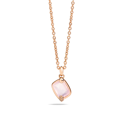 Ritratto Pendant in Rose Gold with Pink Quartz and Brown Diamonds
