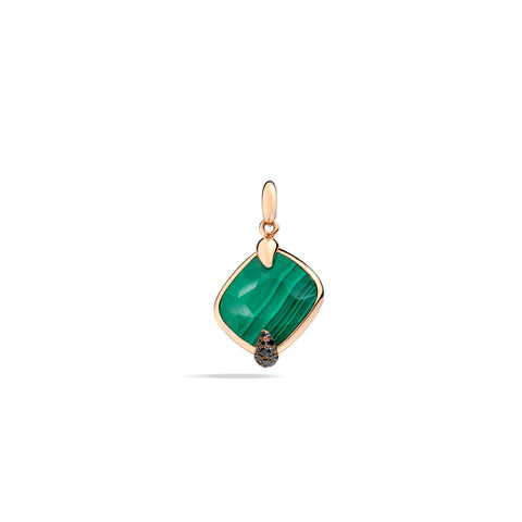 Ritratto Pendant in Rose Gold with Malachite and Black Diamonds