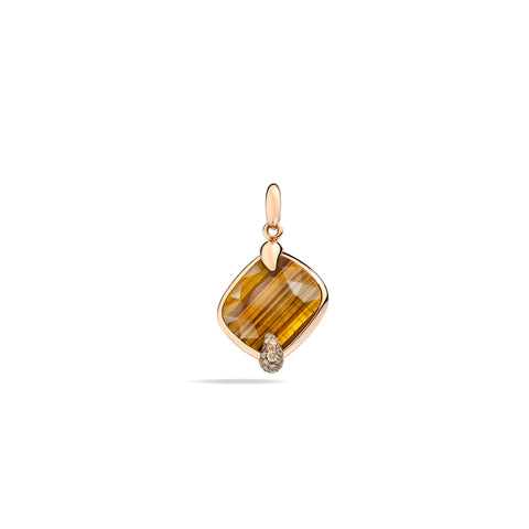 Ritratto Pendant in Rose Gold with Tiger eye and Brown Diamonds