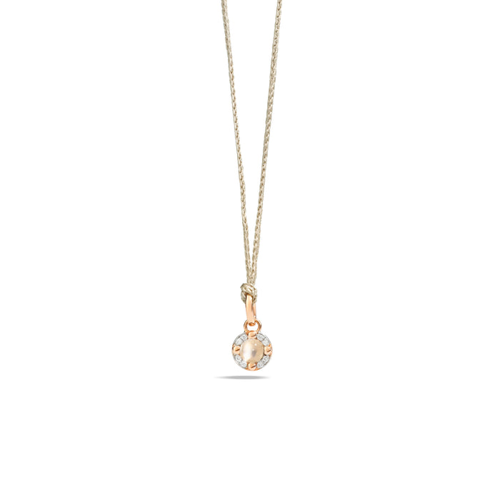 M'ama non M'ama Pendant in 18k Rose Gold with Moonstone and Diamonds
