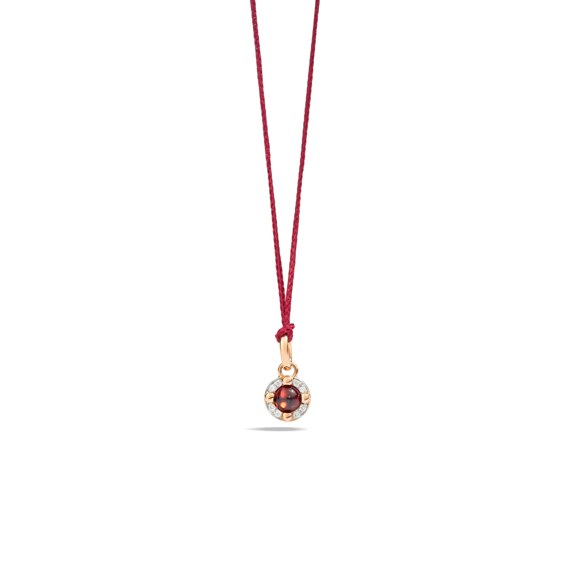 M'ama non M'ama Pendant in 18k Rose Gold with Garnet and Diamonds - Orsini Jewellers NZ