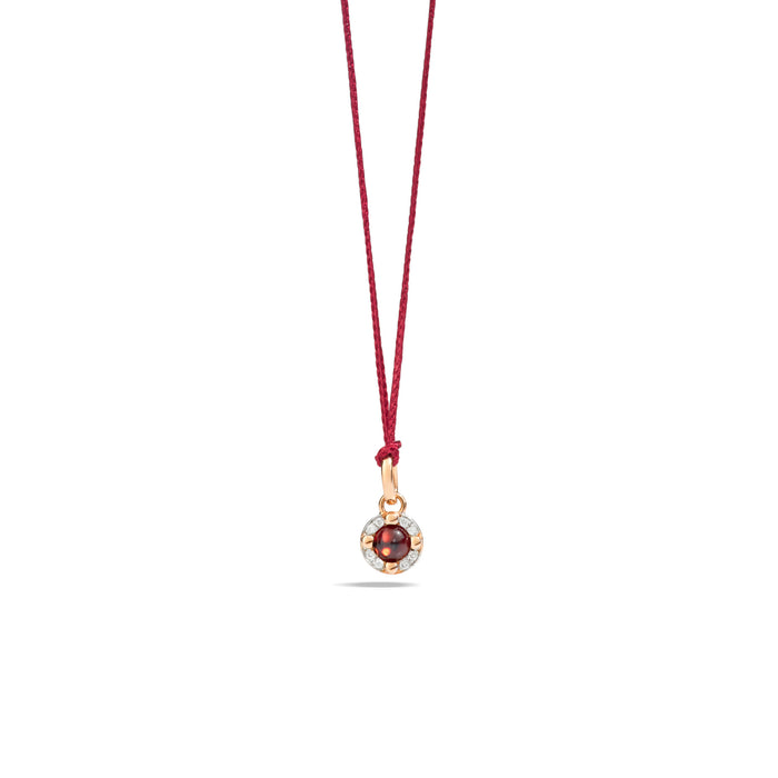 M'ama non M'ama Pendant in 18k Rose Gold with Garnet and Diamonds