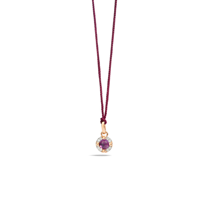 M'ama non M'ama Pendant in 18k Rose Gold with Amethyst and Diamonds