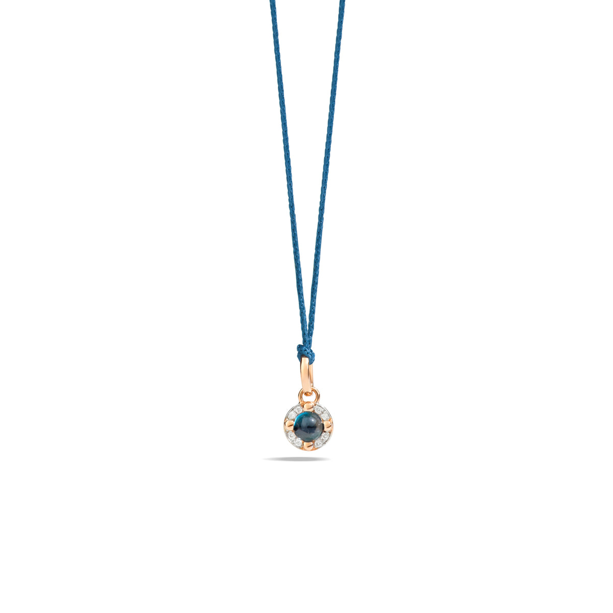 M'ama non M'ama Pendant in 18k Rose Gold with London Blue Topaz and Diamonds - Orsini Jewellers NZ