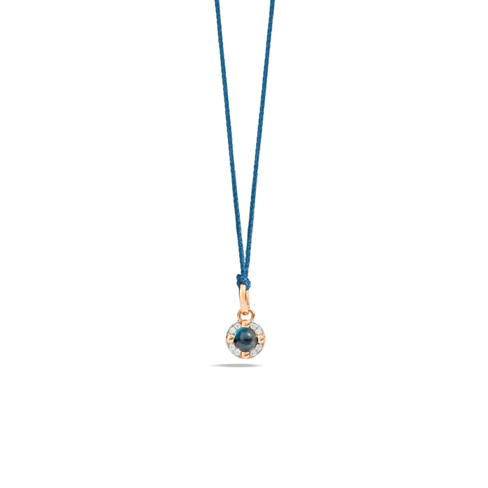 M'ama non M'ama Pendant in 18k Rose Gold with London Blue Topaz and Diamonds