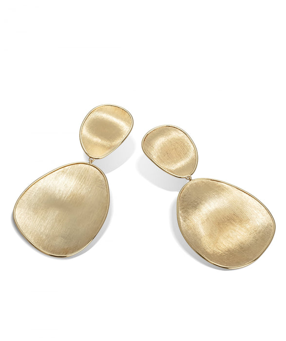 Lunaria Earrings in 18k Yellow Gold Double Drop Large