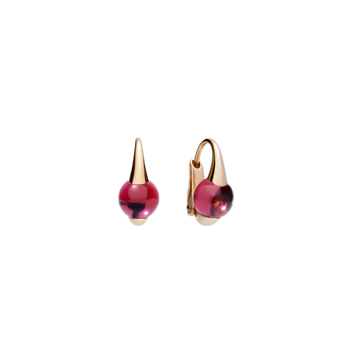 M'ama non M'ama Earrings in 18k Rose Gold with Rhodolite Garnet