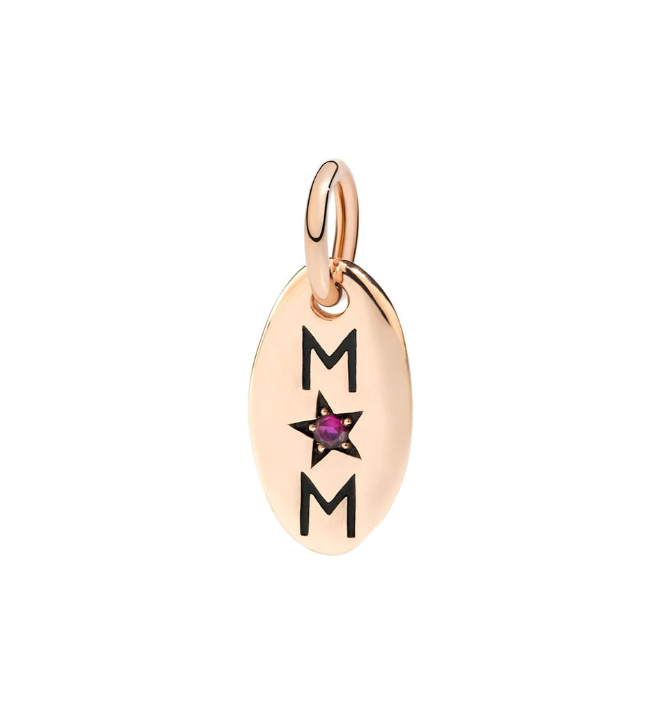Dodo Mom Charm in 9k Rose Gold with Ruby
