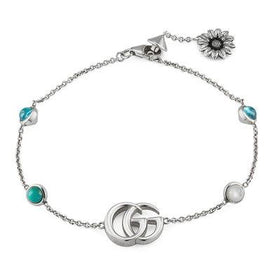 Gucci Marmont Mother of Pearl and Blue Topaz Double G Bracelet