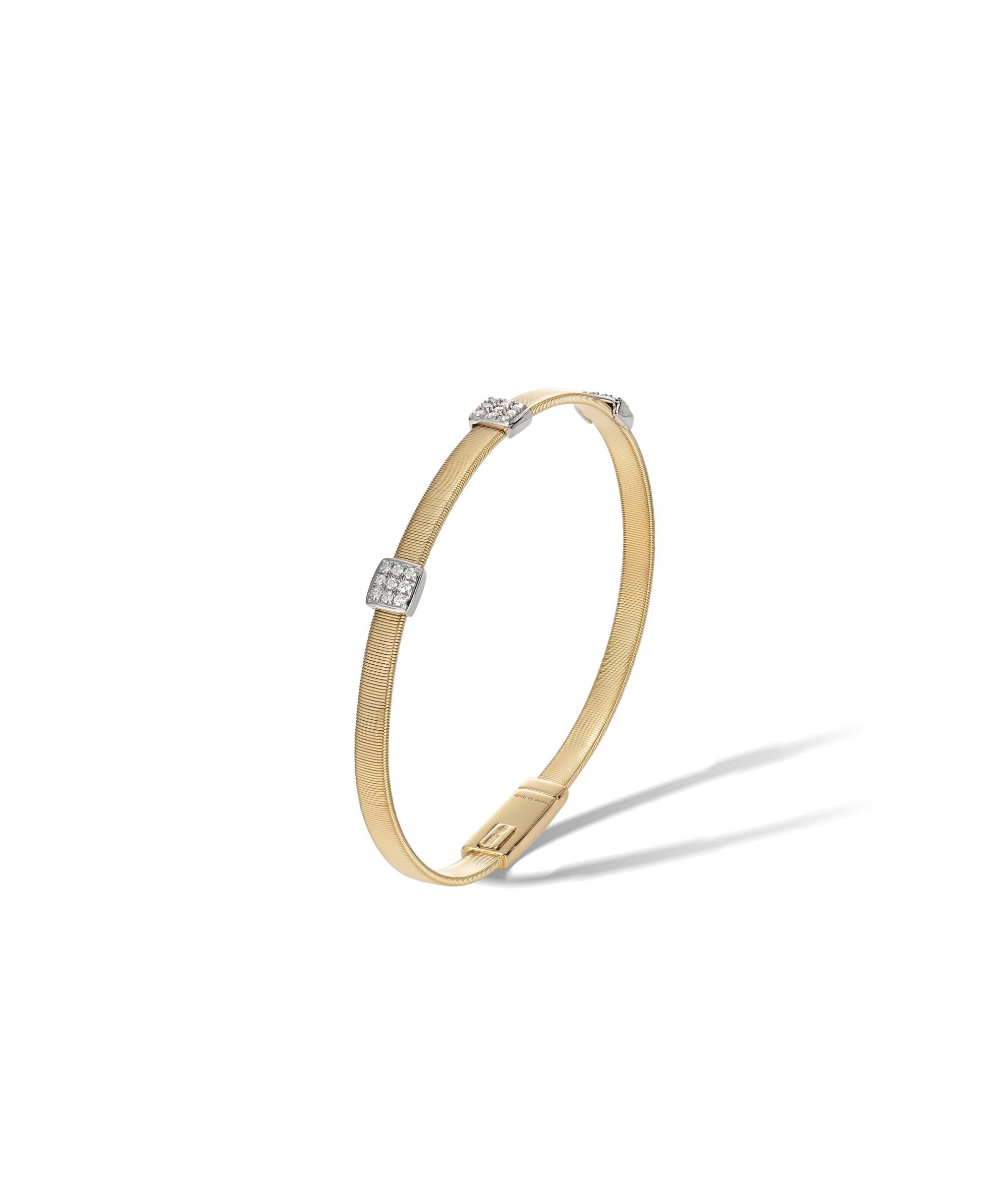 Masai Bracelet in 18k Yellow Gold with 3 Pave Diamond Stations Single Strand - Orsini Jewellers NZ