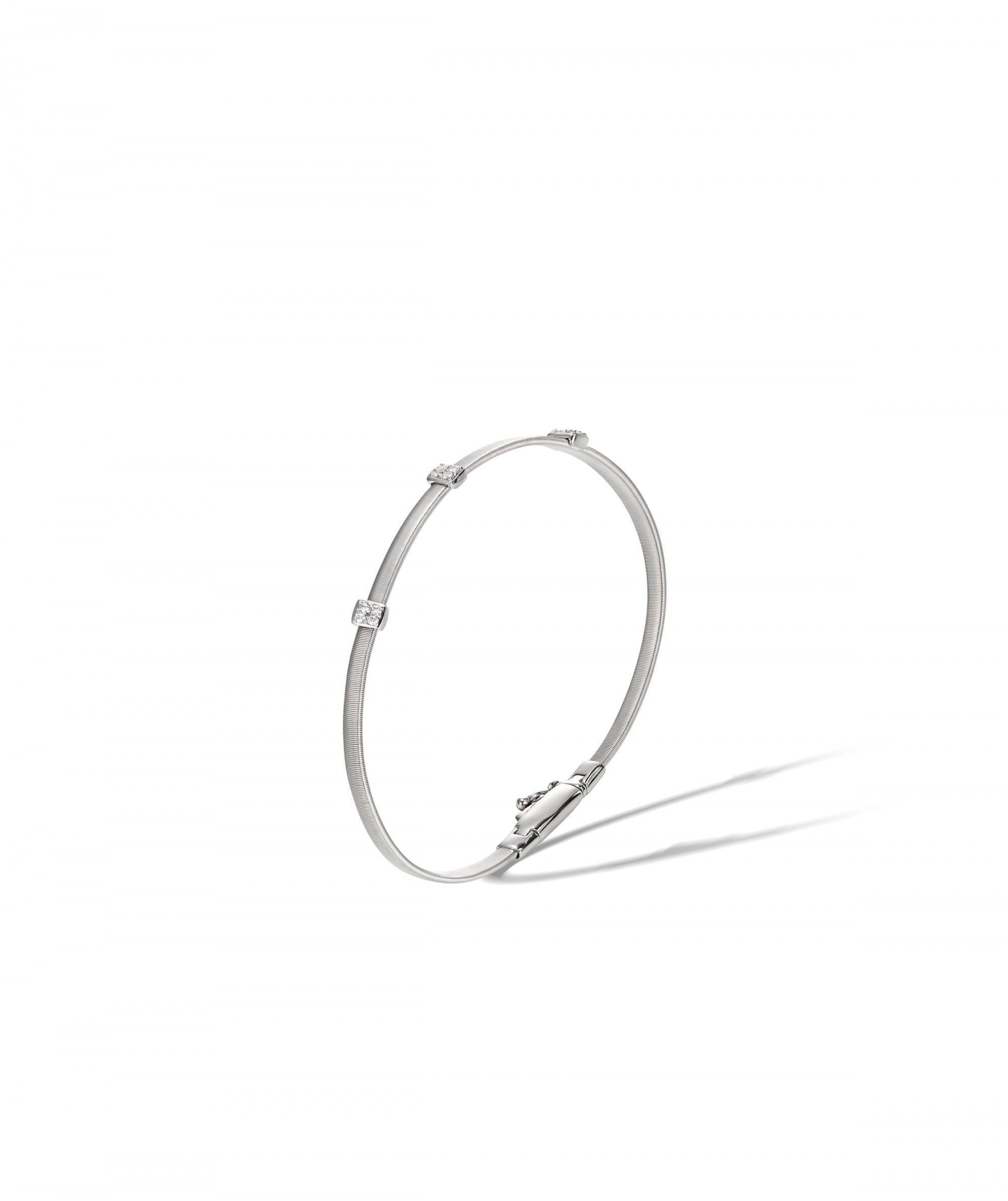 Masai Slender Bracelet in 18k White Gold with 3 Pave Diamond Stations Single Strand - Orsini Jewellers NZ