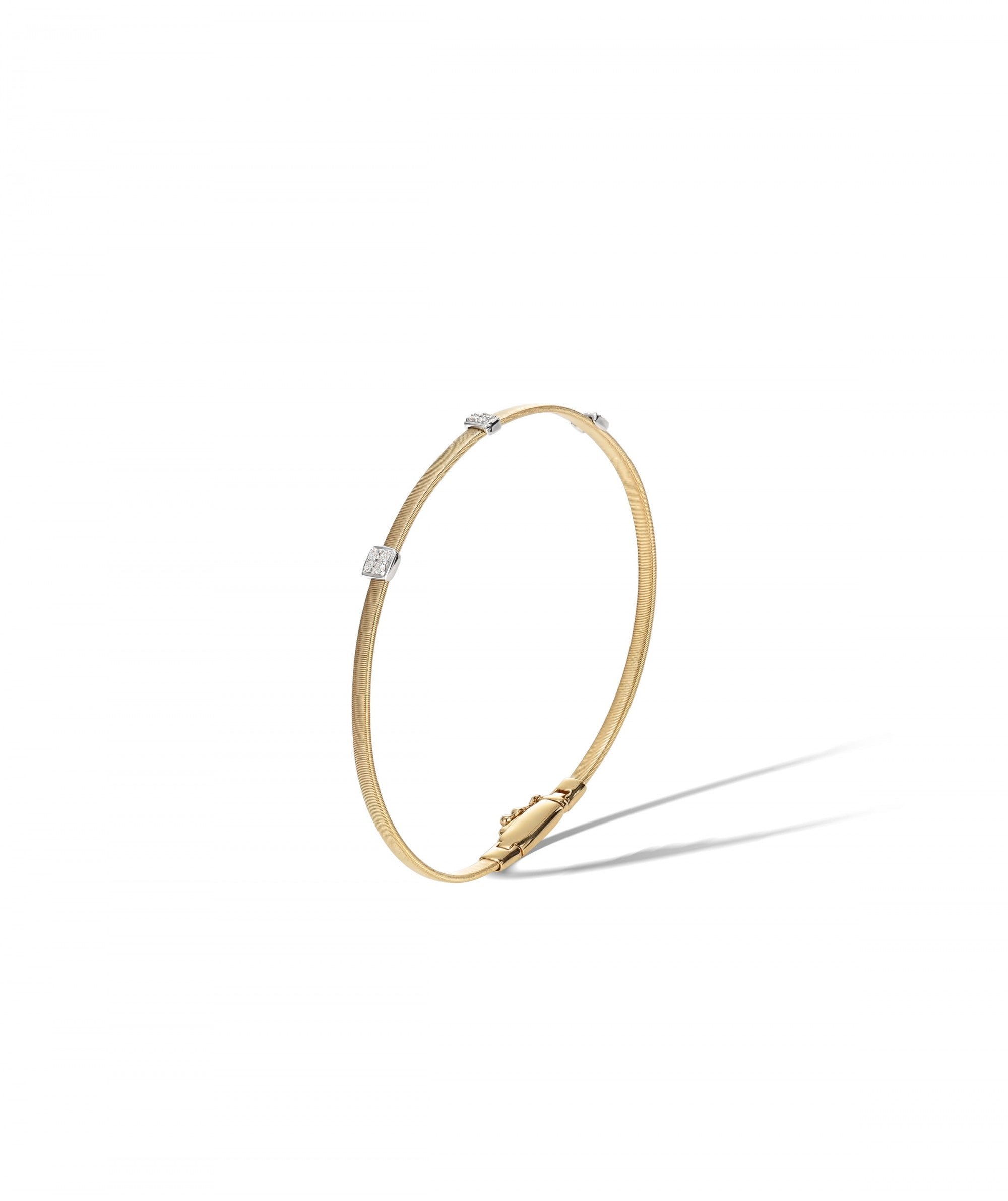 Masai Slender Bracelet in 18k Yellow Gold with 3 Pave Diamond Stations Single Strand - Orsini Jewellers NZ