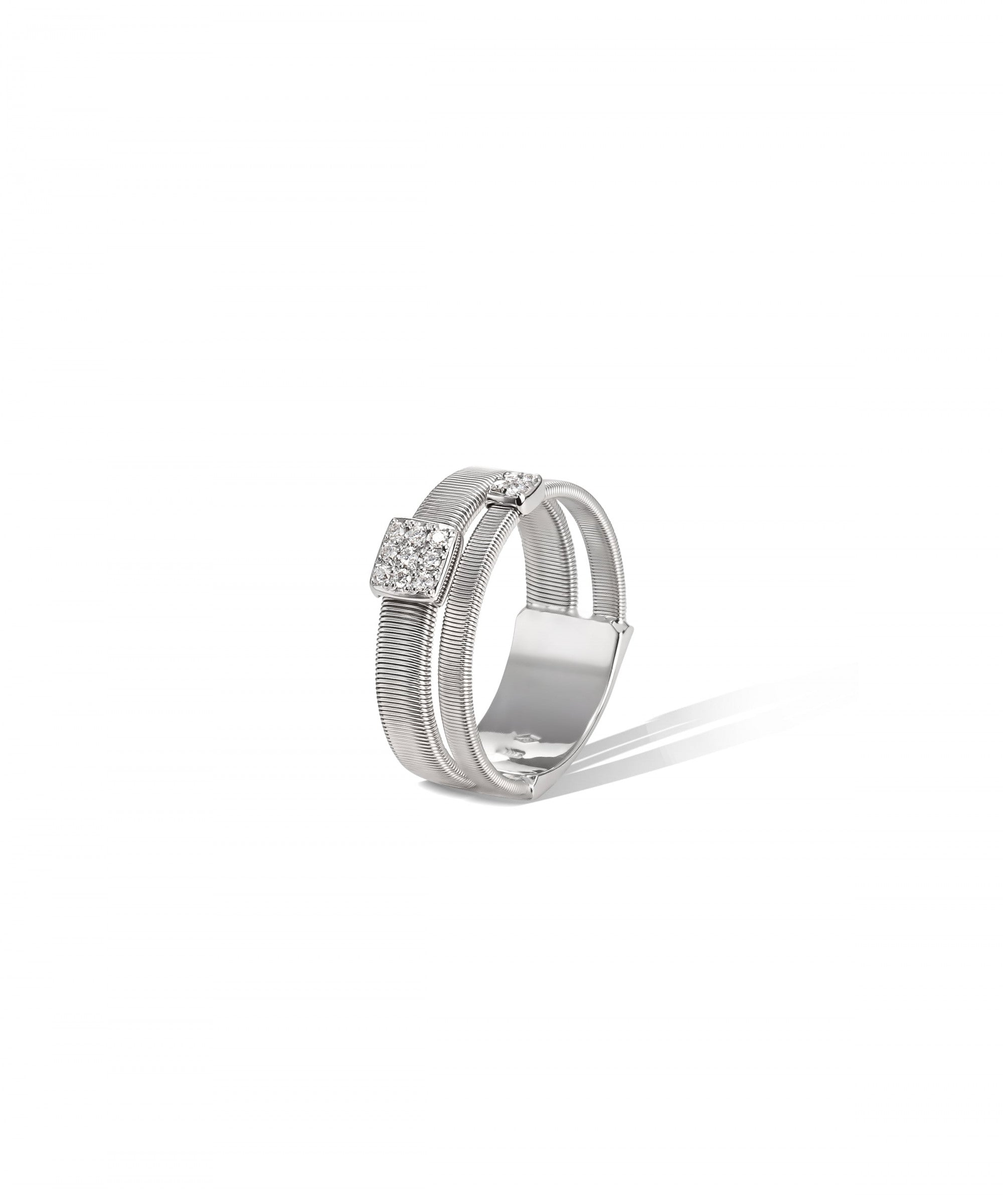 Masai Ring in 18k White Gold with Pave Diamonds Double Band - Orsini Jewellers NZ