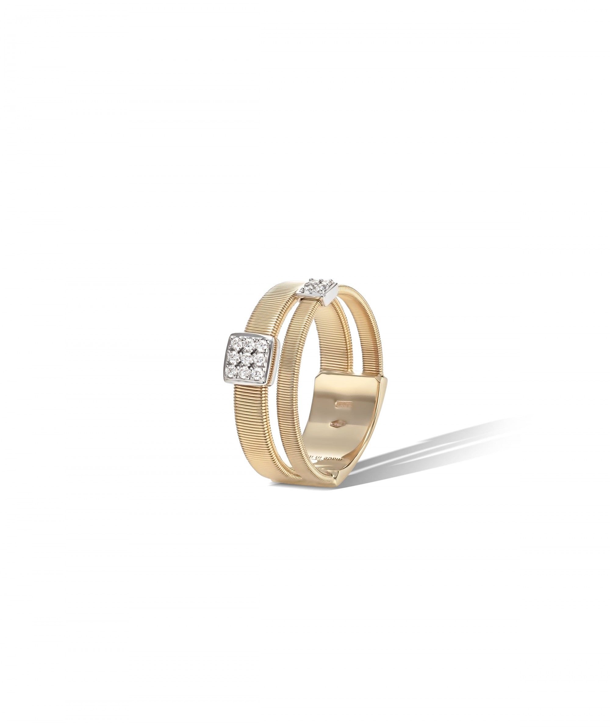 Masai Ring in 18k Yellow Gold with Pave Diamonds Double Band - Orsini Jewellers NZ