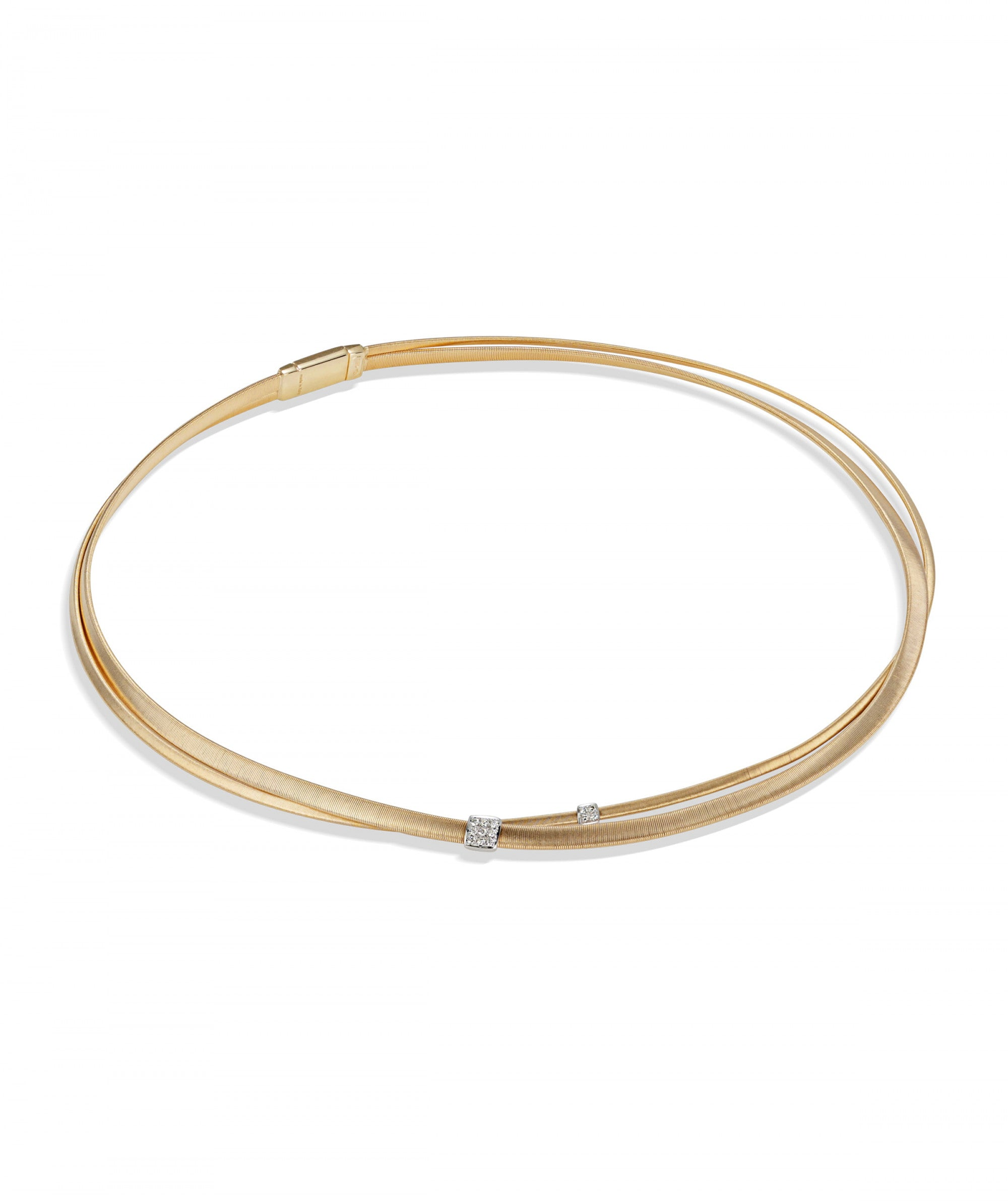 Masai Necklace in 18k Yellow Gold and White Gold with Diamonds Two Strand - Orsini Jewellers NZ