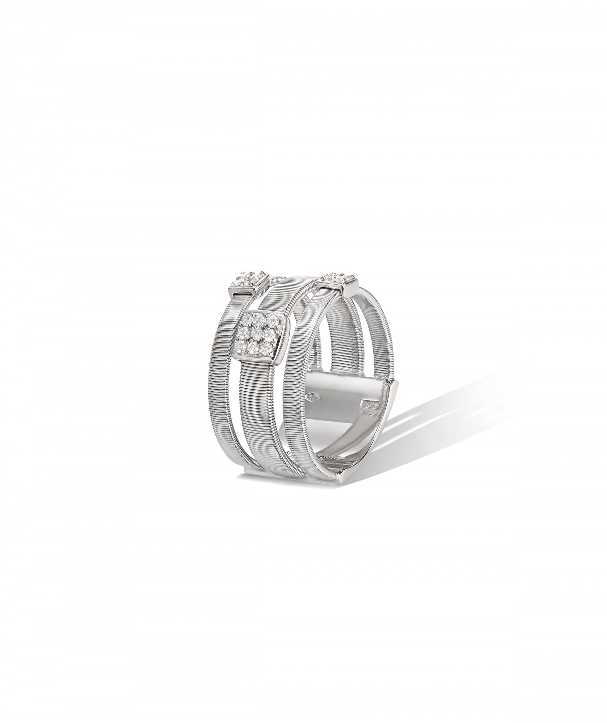 Masai Ring in 18k White Gold with Pave Diamonds Triple Band - Orsini Jewellers NZ