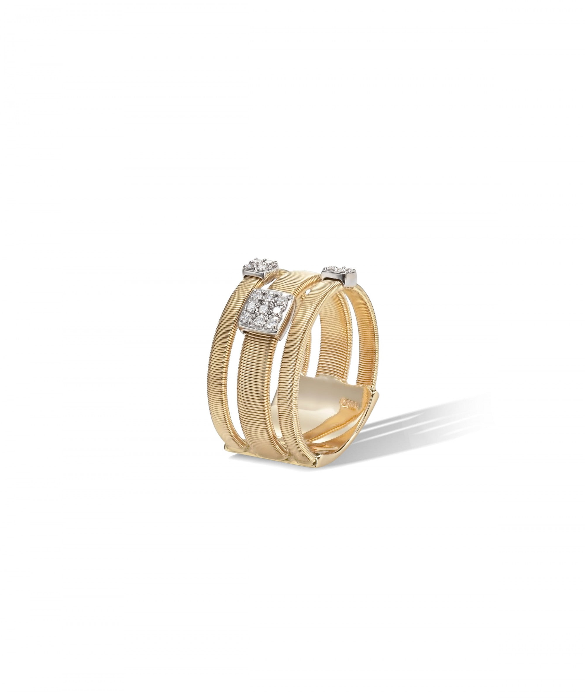 Masai Ring in 18k Yellow Gold with Pave Diamonds Triple Band - Orsini Jewellers NZ