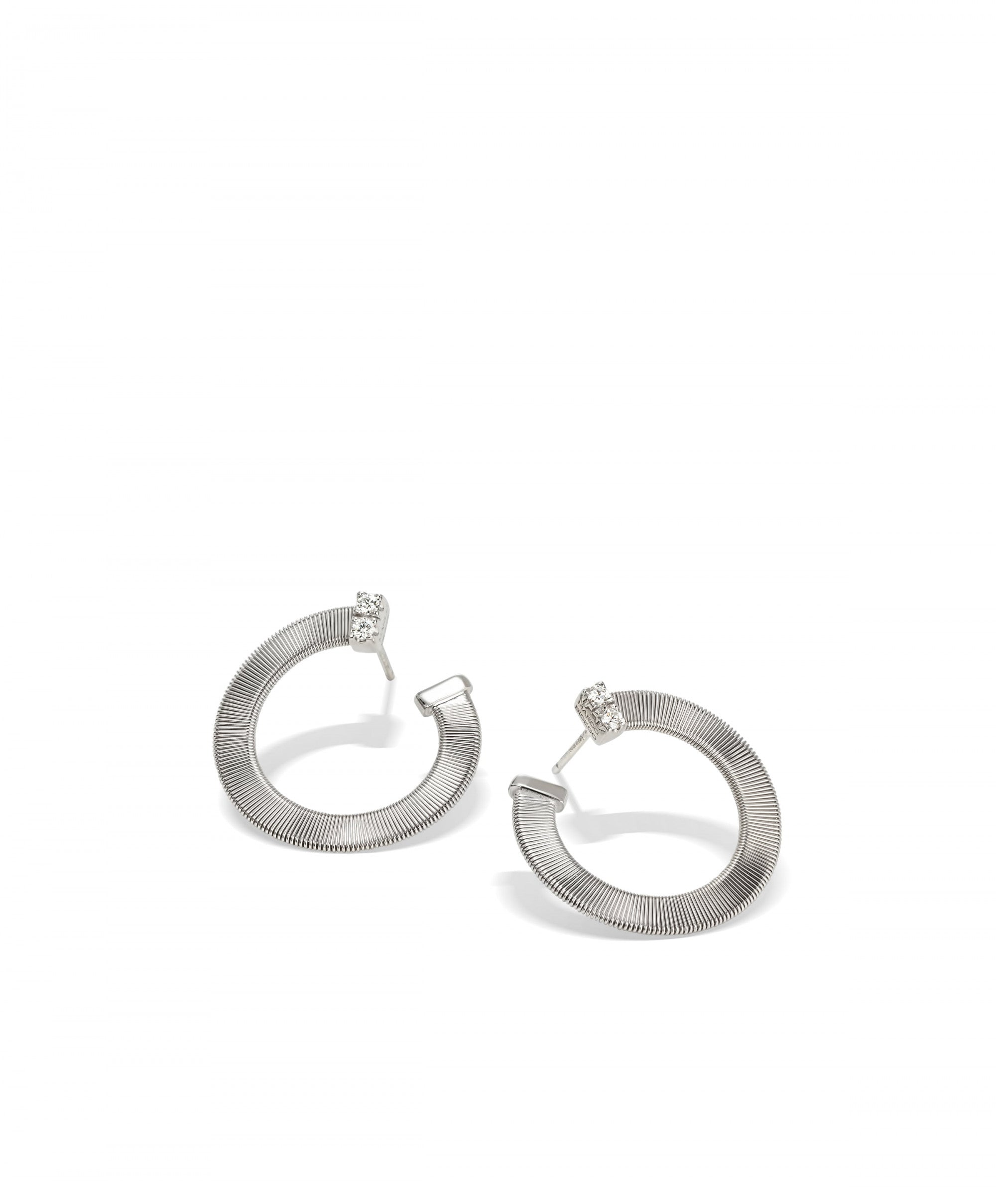 Masai Earrings in 18k White Gold with Pave Diamonds - Orsini Jewellers NZ