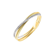Masai 18k gold three strand with a strip of diamonds