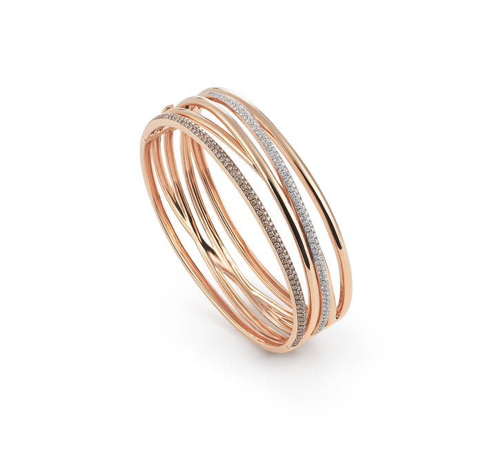 Serenata Bangle in 18k Rose Gold with Brown and White Diamonds