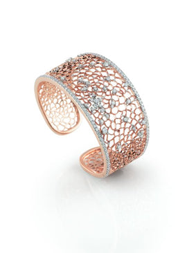 Amalfi Cuff Bracelet in 18k Rose Gold with White Diamonds