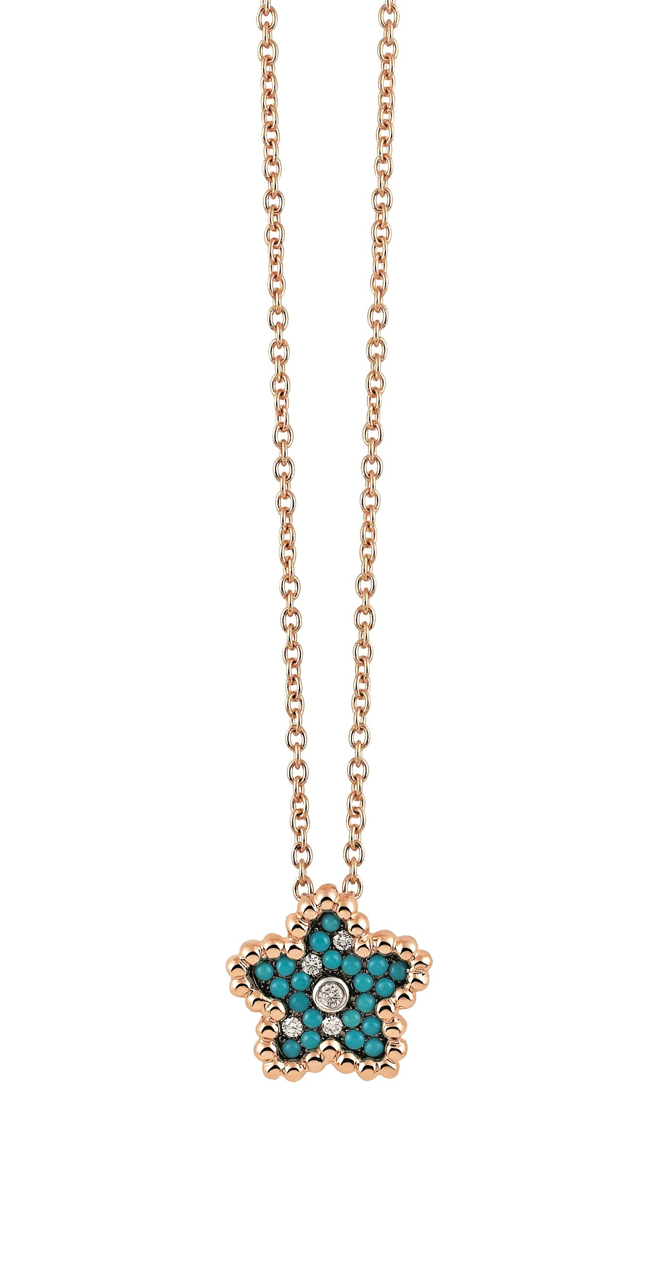 Palladio Pendant in 18k Rose Gold with Diamonds and Turquoise - Orsini Jewellers NZ